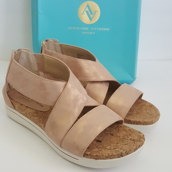 99a3a1a79b46 New Adrienne Vittadini Rose Gold Claud Sandal